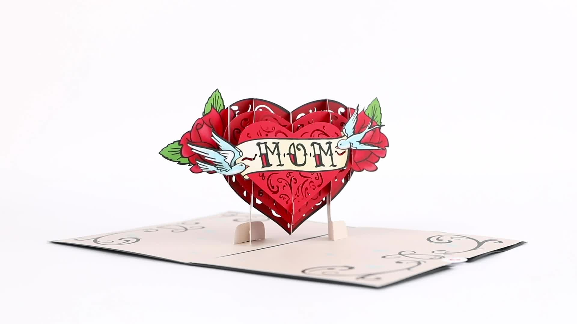 Mother's Day Tattoo Heart Pop-Up Card