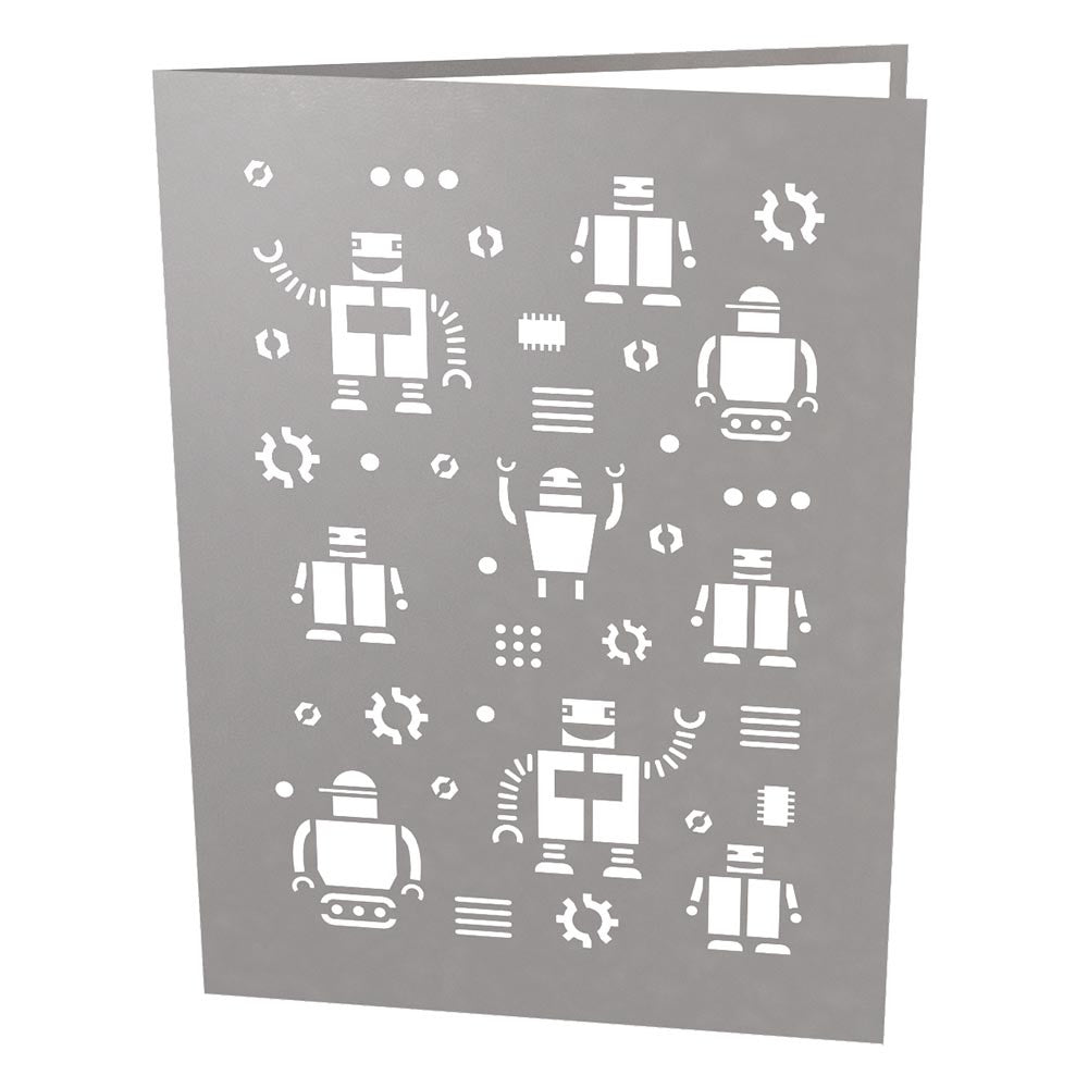 Robot Dad birthday pop up card