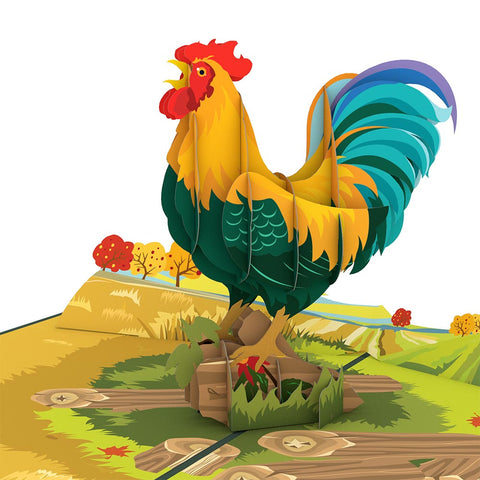 Rooster greeting card -  Lovepop
