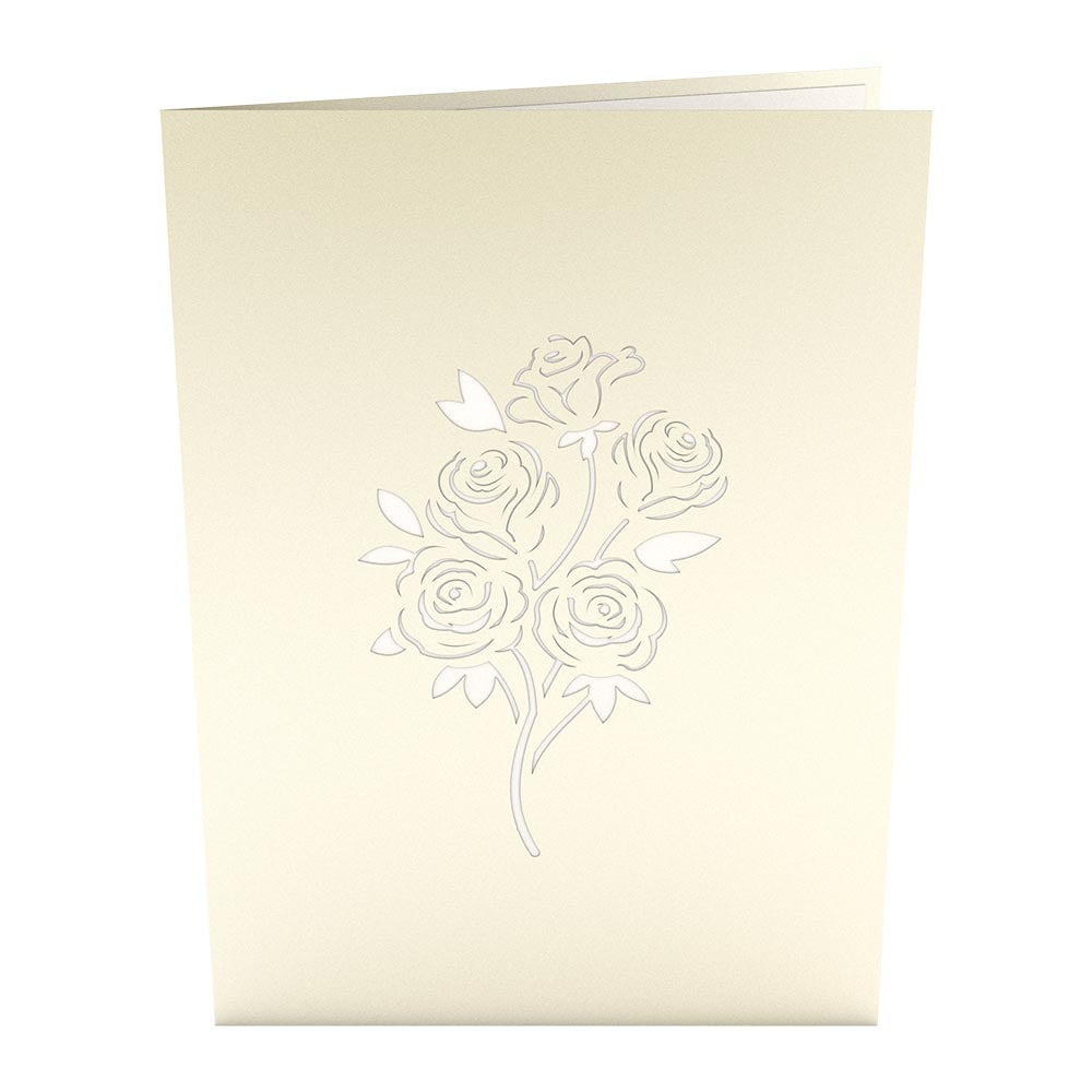 Rose Bouquet White birthday pop up card