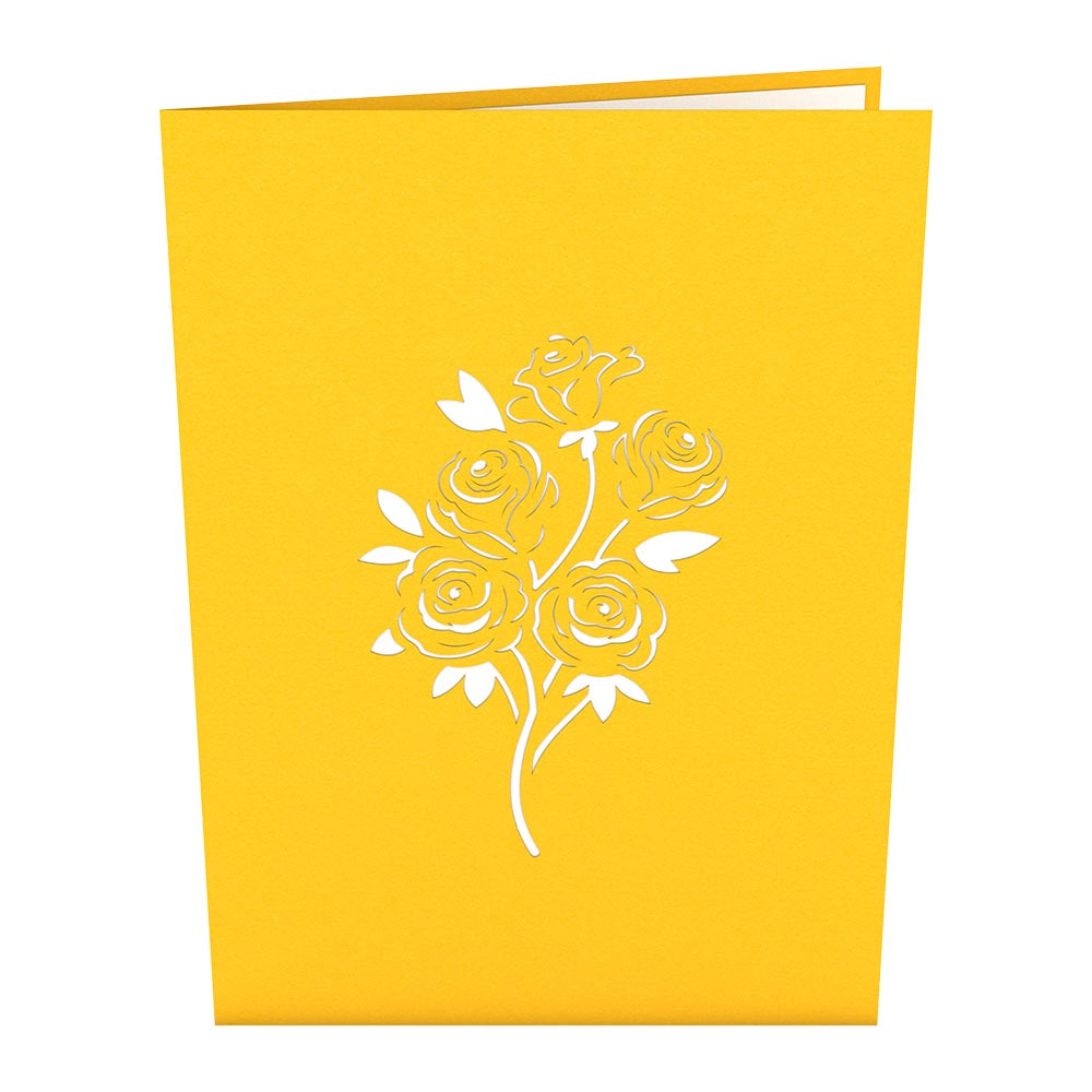Rose Bouquet Yellow pop up card