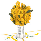 Rose Bouquet Yellow pop up card - thumbnail