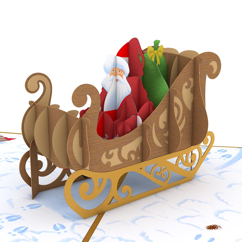 Night Before Christmas Santa Sleigh pop up card