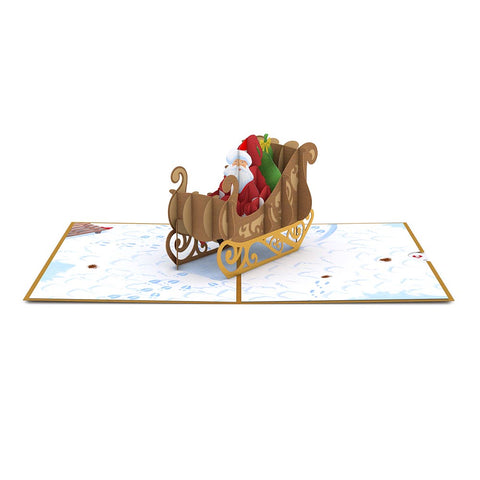 Night Before Christmas Santa Sleigh greeting card -  Lovepop