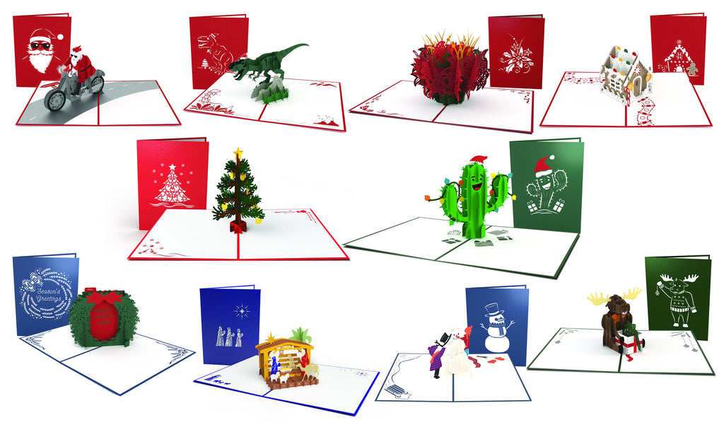 "The ""Season's Greetings"" Christmas 10 Pack pop up card"