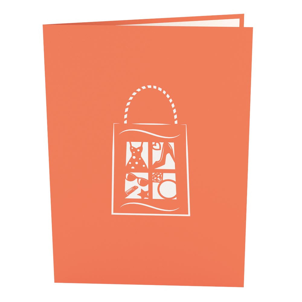 Shopping Time Orange birthday pop up card