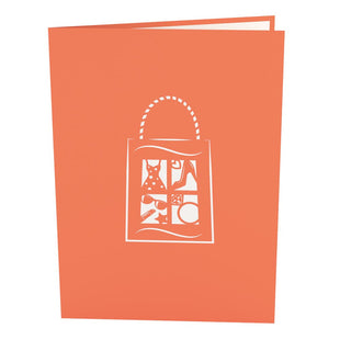 Shopping Time Orange Pop Up Birthday Card