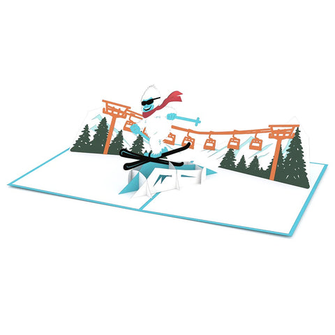 Skiing Yeti Pop up Card greeting card -  Lovepop