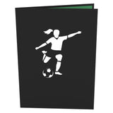 Soccer Gal birthday pop up card - thumbnail