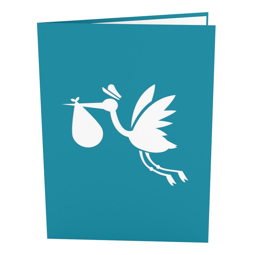 Stork Blue pop up card