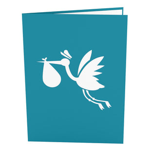 Stork Blue Pop Up New Baby Card