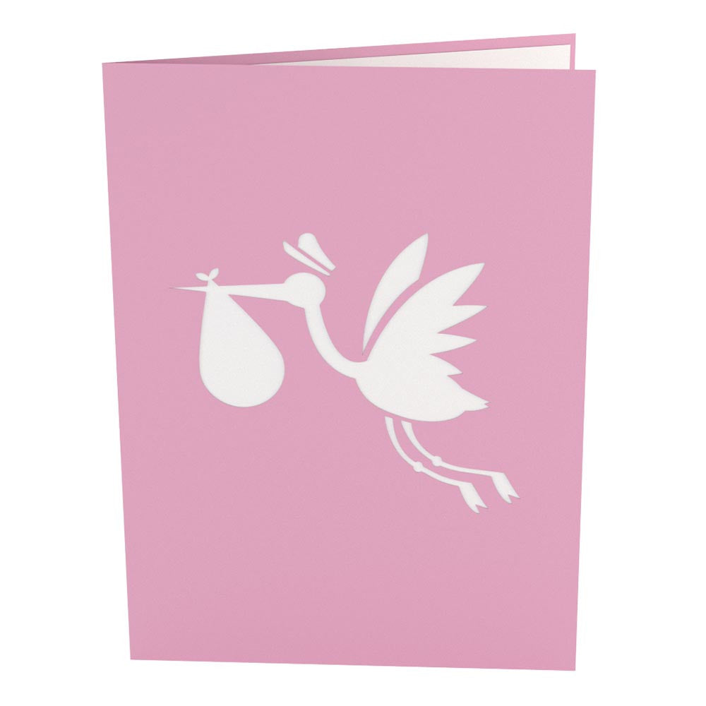 stork pink pop up new baby card
