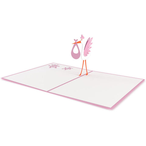 Stork Pink Pop Up New Baby Card greeting card -  Lovepop