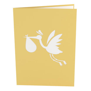 Stork Yellow Pop Up New Baby Card
