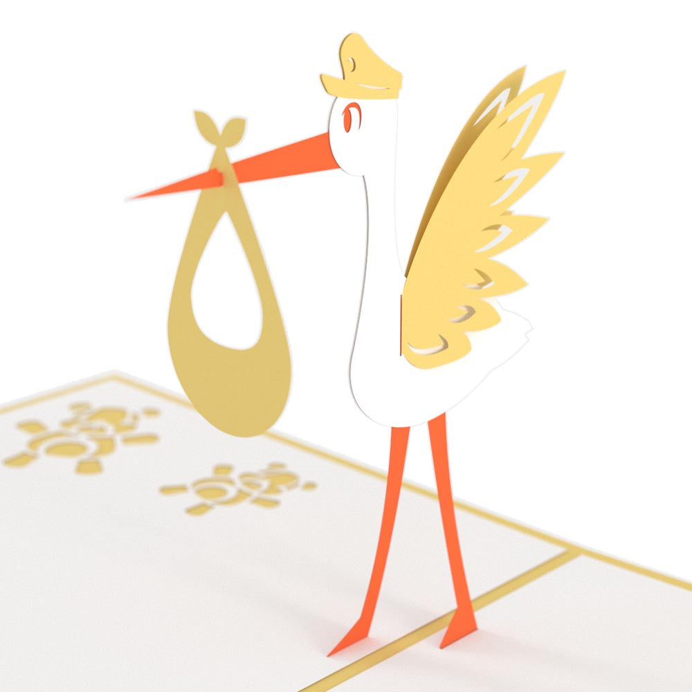 Stork Yellow pop up card
