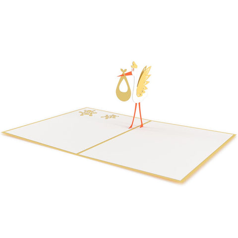 Stork Yellow Pop Up New Baby Card greeting card -  Lovepop