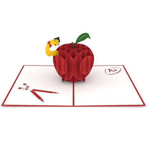 Teacher's Apple Pop Up Thank You Card 3D pop-up card open -  Lovepop