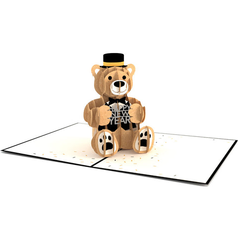 Tuxedo Bear Pop Up New Year Card greeting card -  Lovepop