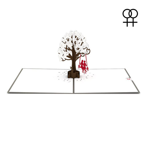 Two Girls on a Swing Pop Up LGBT Anniversary Card greeting card -  Lovepop