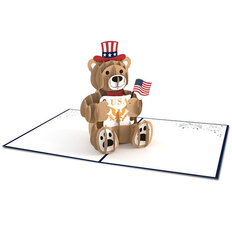 USA Bear Pop Up Fourth of July Card greeting card -  Lovepop