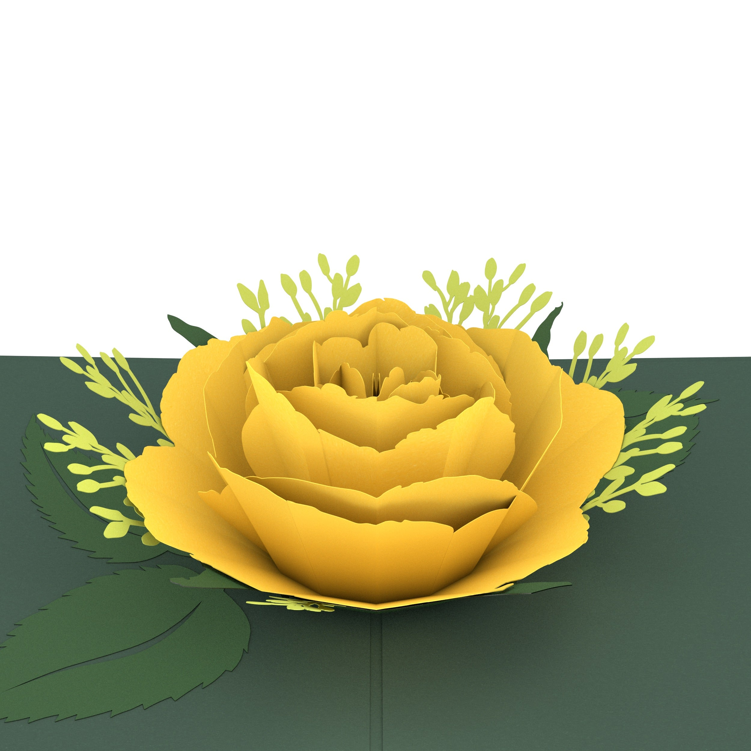 Yellow Rose Bloom Pop-Up Card