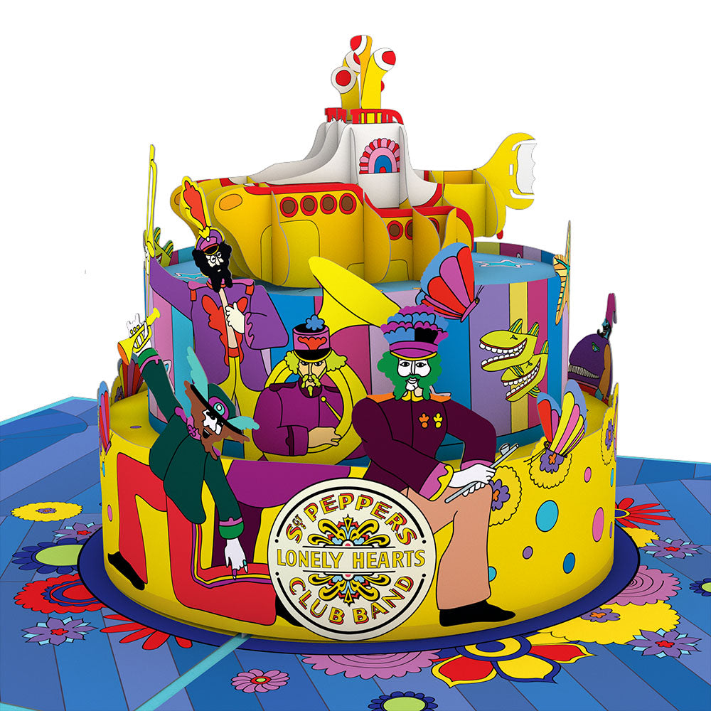 The Beatles Yellow Submarine Birthday Cake pop up card