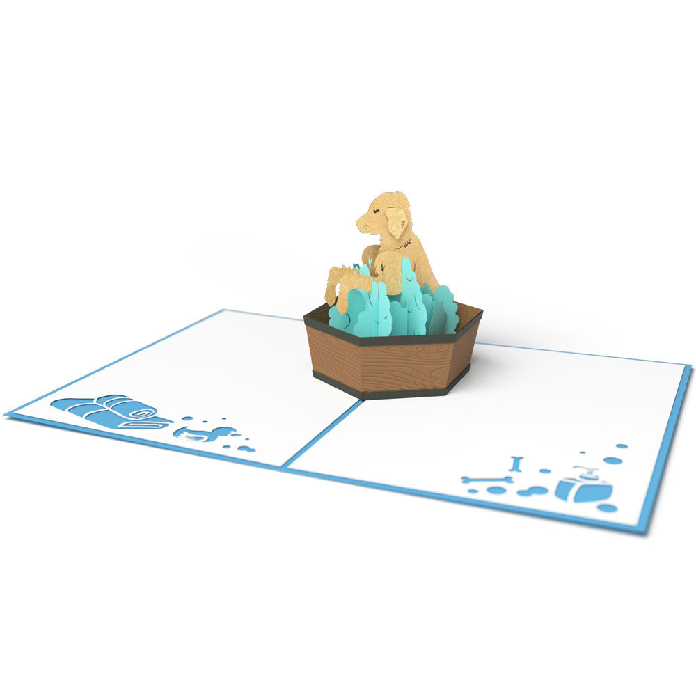 Puppy Bath Time pop up card