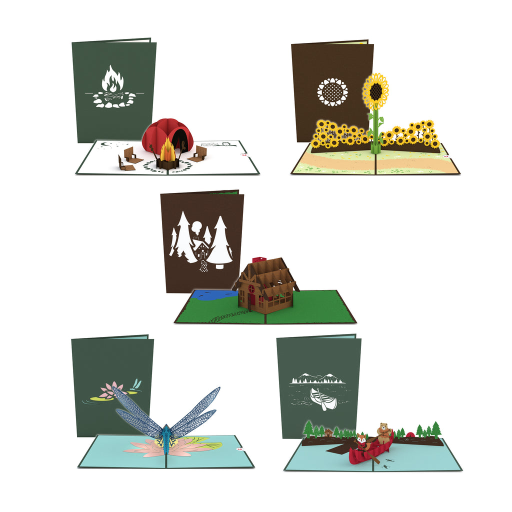 Camp Survival 5 Pack birthday pop up card