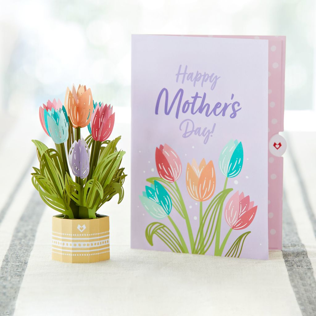 Mother's Day Tulips Card with Mini Bouquet