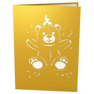 Gold Birthday Bear Pop Up Birthday Card