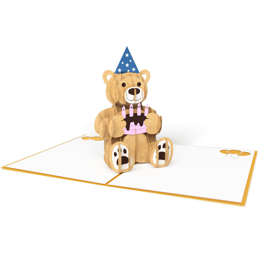 Gold Birthday Bear pop up card