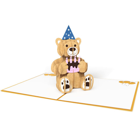 Gold Birthday Bear Pop Up Birthday Card greeting card -  Lovepop