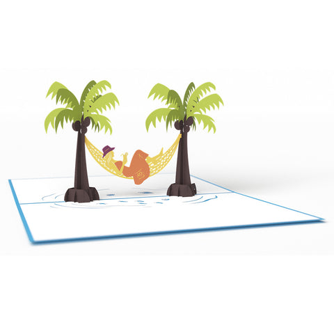 Hammock & Palm Girl greeting card -  Lovepop