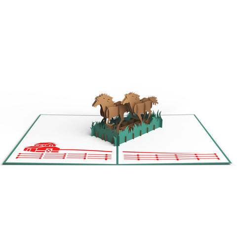 Horses Running Pop Up Birthday Card greeting card -  Lovepop