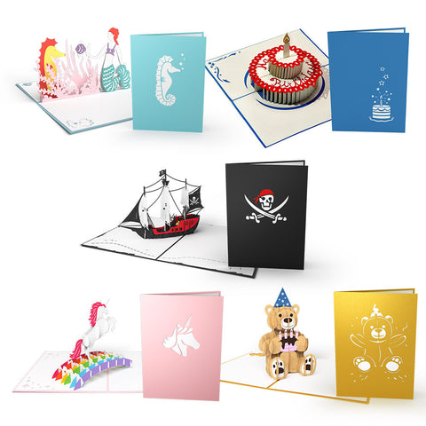 Kids Birthday Pop Up Card Pack 3D pop-up card open -  Lovepop