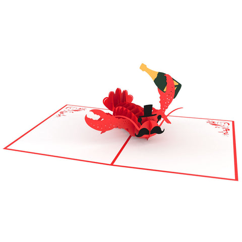Fancy Lobster Pop Up Birthday Card 3D pop-up card open -  Lovepop