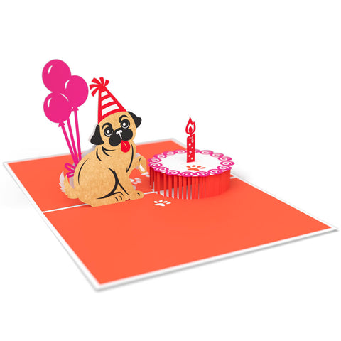 Pug Cake Smash Pop Up Birthday Card 3D pop-up card open -  Lovepop