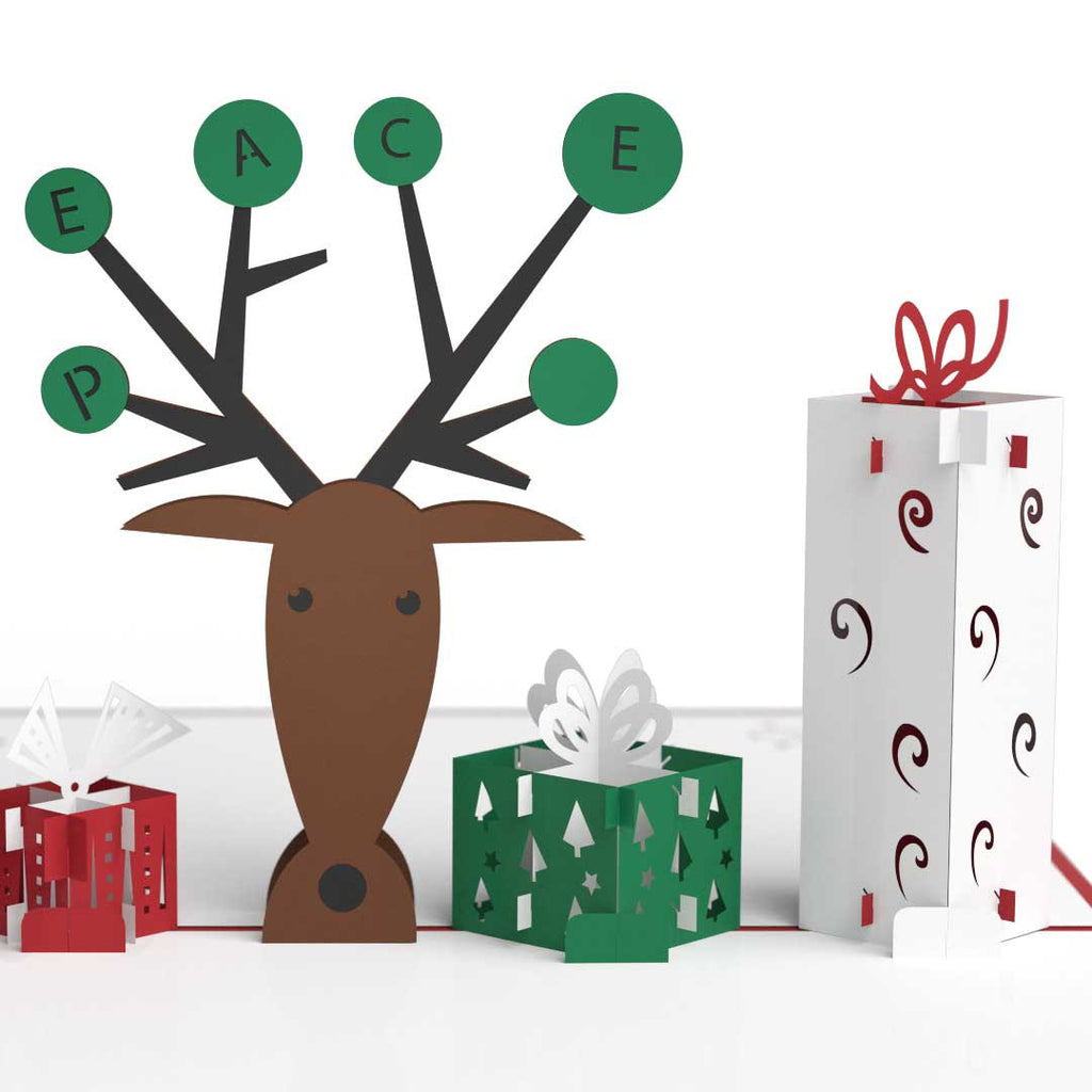 Reindeer with Presents pop up card