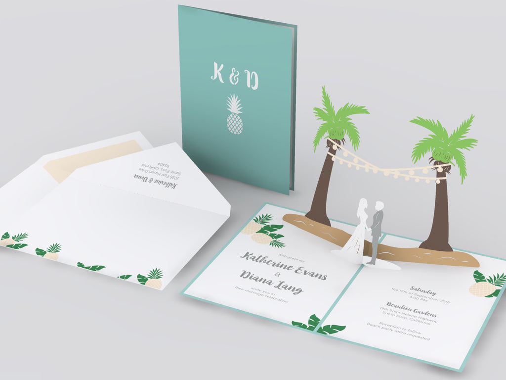 Palm Tree with String Lights pop up card