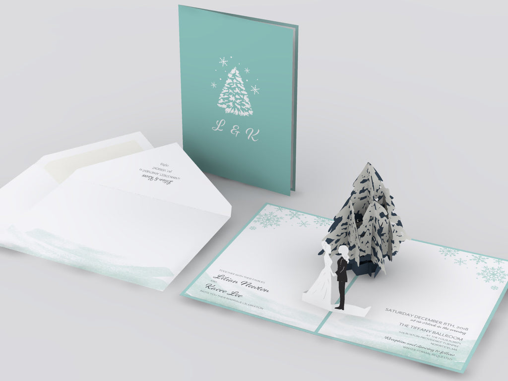 Frosted Evergreen pop up card