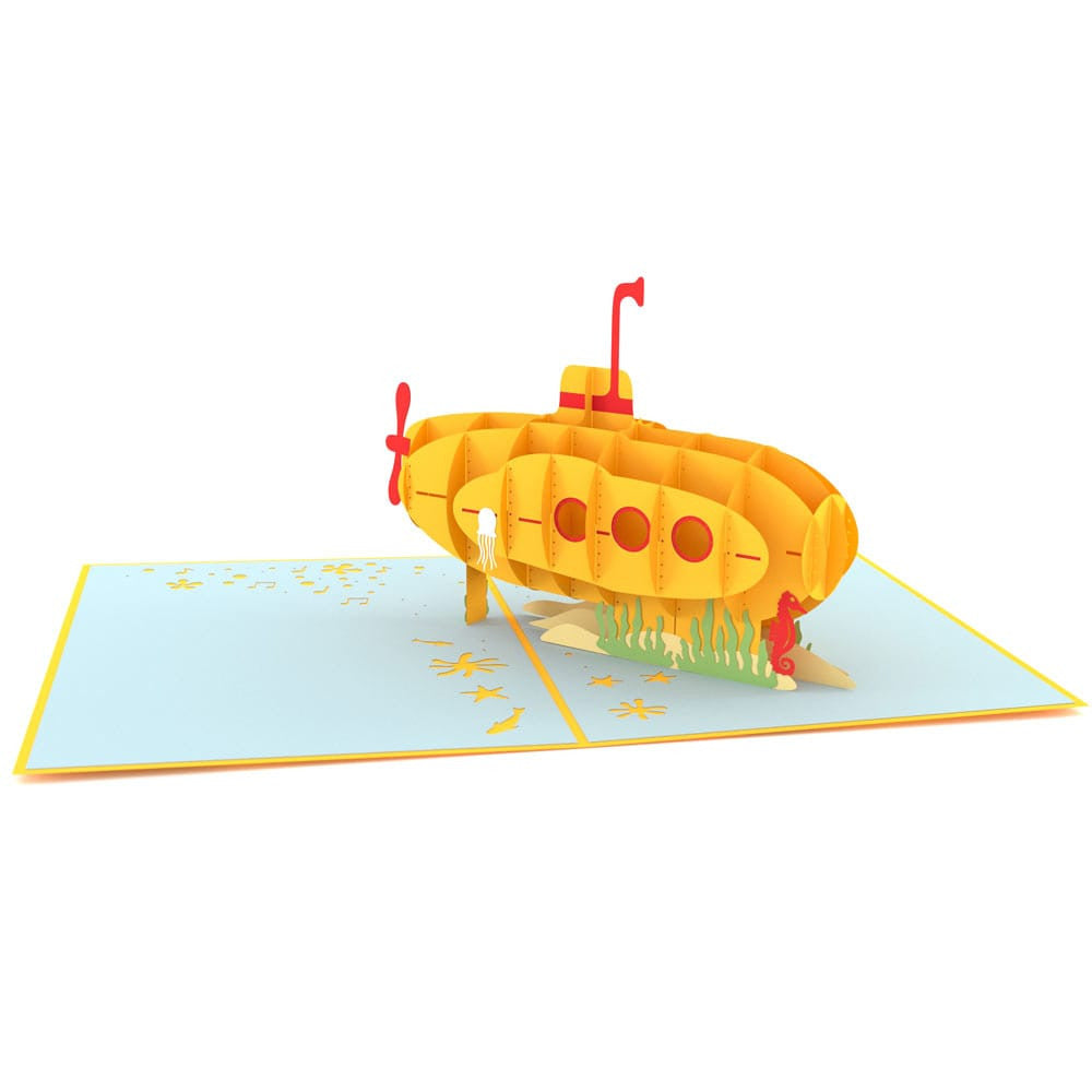 Groovy Yellow Submarine birthday pop up card