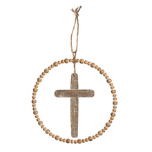 Load image into Gallery viewer, Round Wood & Metal Cross Wall Decor - Natural