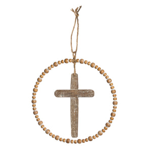Round Wood & Metal Cross Wall Decor - Natural