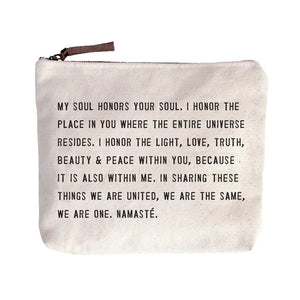 Canvas Zip Bag - Namaste