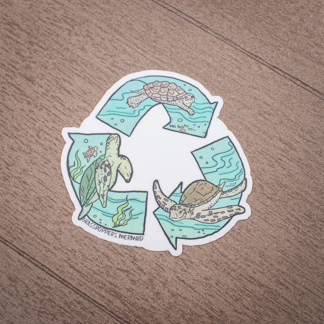 Grasshopper's Mermaid Sticker - Recycling Turtles
