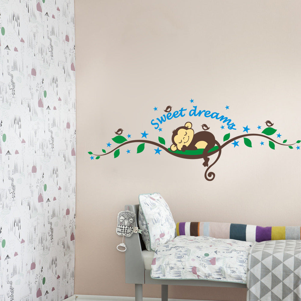 Monkey Sleeping Removable Wall Decal