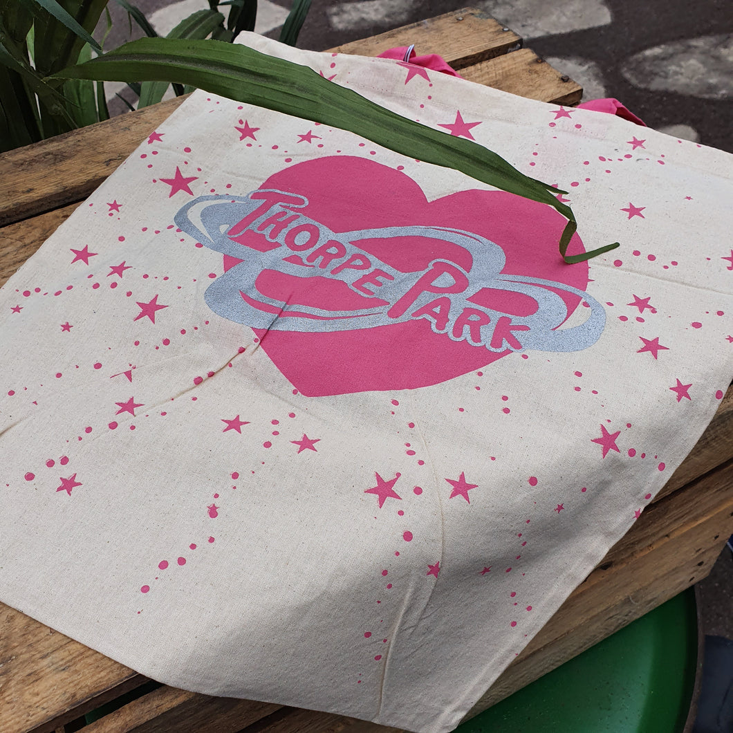 Pink Hearts Canvas Reusable Bag