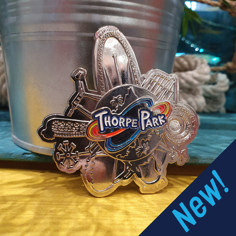 * Thorpe Park Tidal Wave Pin Badge New In Pack *