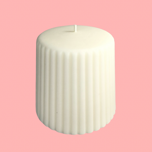 Cream Groovy Pillar Candle