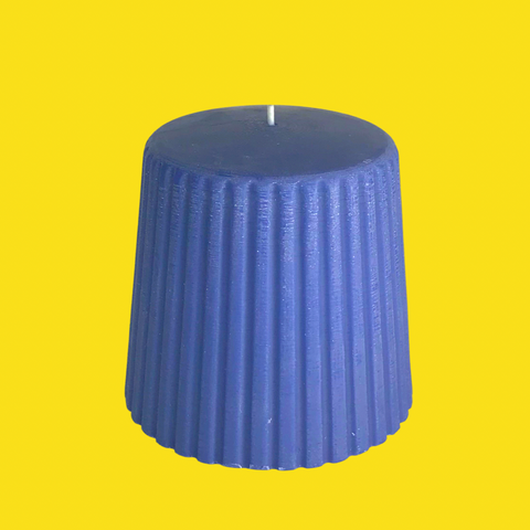Blue Iris Groovy Pillar Candle